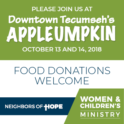 Please join us at the Appleumpkin Festival on Oct. 13 and 14, 2018